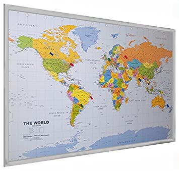 World pinboard wall map 90cm x 60cm silver coloured wood frame world pinboard wall map 90cm x 60cm silver coloured wood frame with easy hang gumiabroncs Images