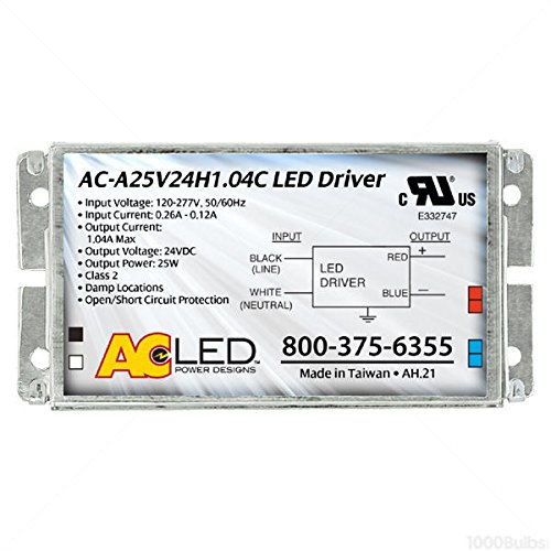 24V LED Driver - For ConstantVage Products Only - Min/Max LEDWage 2.5-25W Driver Input 120-277V AC-A25V24H1.04C AC Electronics