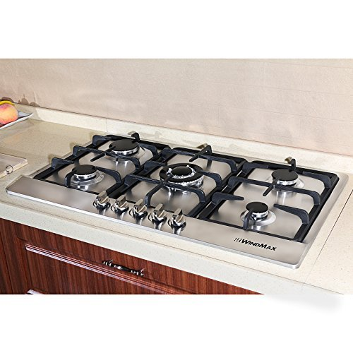 34 inch brand new electric stainless steel builtin kitchen cooktop with 5 burner gas cook top