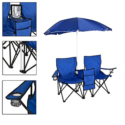 Folding Double Beach Camping Chair Built-in Adjustable Cooler Table And Umbrella with A Carrying Case TSE016A