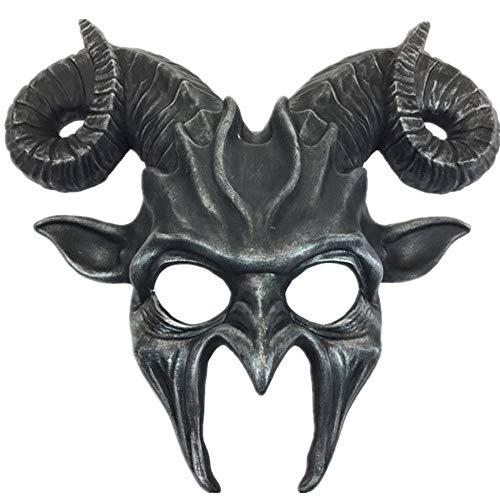 Storm Buy] Ram Goat Series Face Masquerade Animal Devil Mask Costume Halloween Horror Demon (Silver)