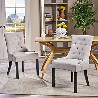 Christopher Knight Home Hayden Fabric Dining Chairs, 2-Pcs Set, Light Grey - These dining chairs are a great addition to any home. Use them either as dining chairs or as accent chairs. The versitily of the chair is only one of the many features, including its upholstered fabric with diamond tufted backrests that contour the body for added comfort. You will love these dining chairs for years to come. Includes: Two (2) Dining Chairs Material: Fabric (100% Polyester), Birch | Color: Light Gray, Dark Brown Finish - kitchen-dining-room-furniture, kitchen-dining-room, kitchen-dining-room-chairs - 51HSCAd3x L. SS400  -