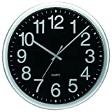 Tempus TC7000S Commercial Wall Clock with Frame and Quartz Movement, 13-1/2'', Silver