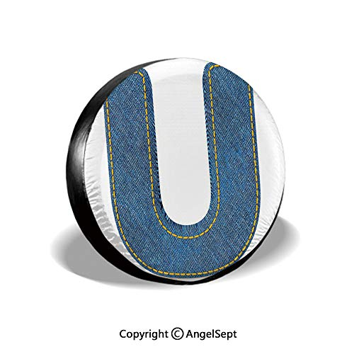 (Tire Cover,Denim Letter Alphabet Design with Realistic Looking Fabric Texture Stitches Image Decorative,Blue Yellow,for Jeep Trailer SUV RV and Many Vehicles,15 Inch)