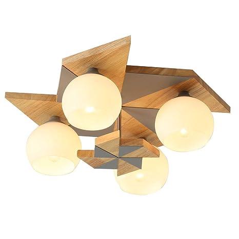 Pantalla de techo cristal madera lámpara de techo habitación ...