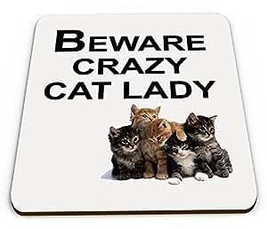 Crazy Cat Lady Novelty Funny taza posavasos