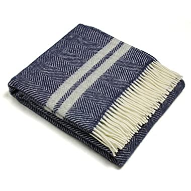 Wool Throw Blanket by Tweedmill - Pure New Wool - Lifestyle Fishbone Two Stripe (Navy & Silver Gray)
