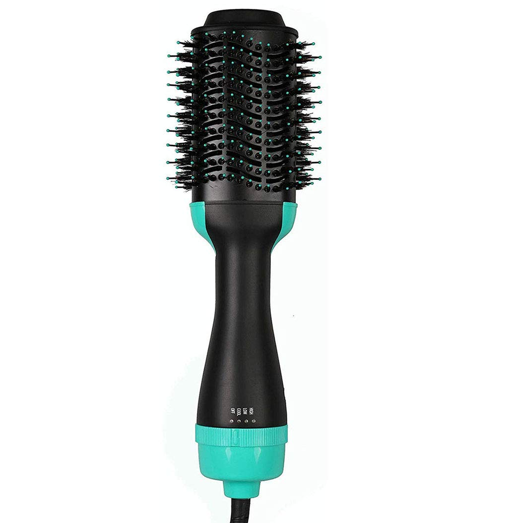 One Step Hair Dryer, 3-in-1 Hot Air Brush Salon Negative Ionic Straightener Volumizer Brush Curler Comb with Anti-Scald Feature for All Hairstyles,Green