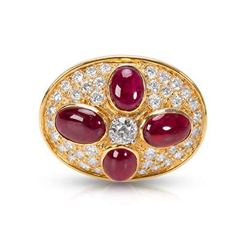 Estate Platinum Ruby - Estate Ruby & Diamond Pin 18KT Yellow Gold 8.44 ctw