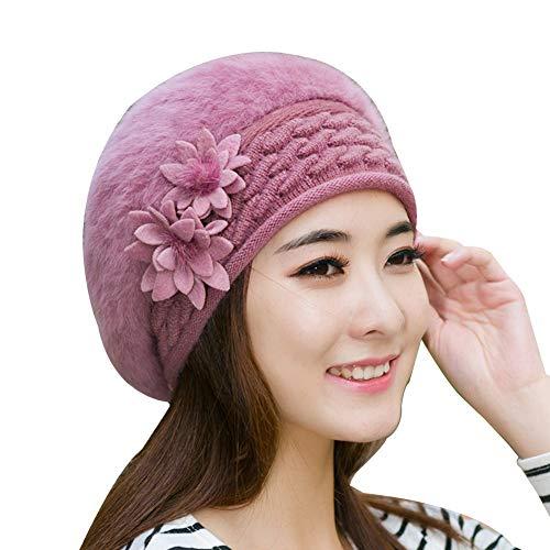 Winter Warm Hats Solid Color Flower Woollen Yarn Knitted Hat Women Winter Elastic Warm Beanie Cap - Keep Warm Comfortable