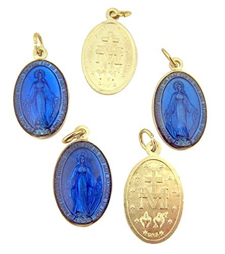 Miraculous Medal Charm (Silver Tone and Blue Enamel Miraculous Medal Pendant, Lot of 5, 1 Inch)