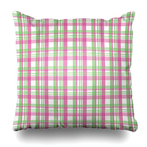 Ahawoso Throw Pillow Cover Abstract Plaid in Lime Green Hot Pink Baby Celtic Checked Checkered Color Design Summer Home Decor Pillowcase Square Size 18