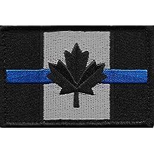 Thin Blue Line Tactical Canadian Flag Velcro 8 x 5 cm Hat Patch