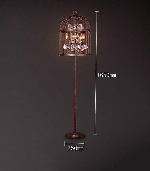 YYLLUODID ZHDC® Loft lámpara de pie, American Village Hierro Jaula ...