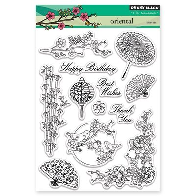 - Penny Black Oriental Clear Unmounted Rubber Stamp Set (30-348)