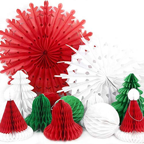 SUNBEAUTY Set of 12 Mix and Match Christmas Decorations Paper Honeycomb Tree, Ball, Bell,Hat & Snowflake Fan Honeycomb Decorations ()