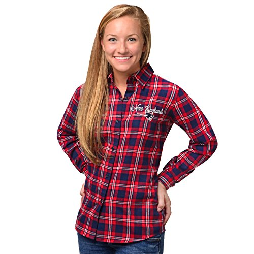 New England Patriots 2016 Wordmark Basic Flannel Shirt - Womens Medium
