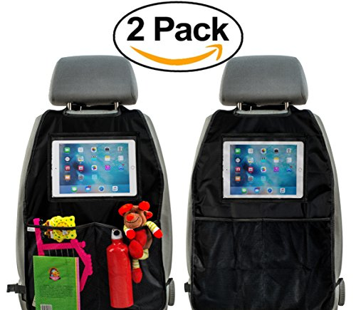 Kick Mats Set of 2 - Car Seat Protector with Organizer and Tablet Pocket Premium Quality Extra Large Waterproof by Vidi (black)