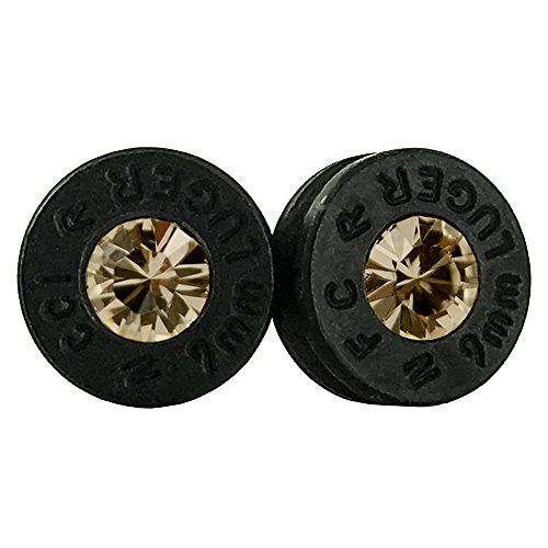 (Handmade Authentic Bullet Shell Stud Earrings with Custom Swarovski Crystals and Unique Birthstones (Black/Amber))