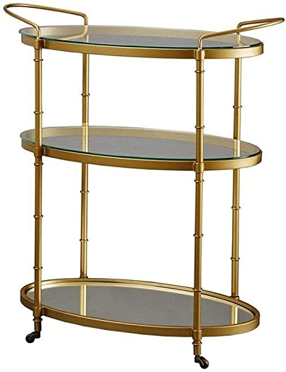 ModHaus Living Glamour Oval Gold 3 Tier Bar Cart with Glass and Mirror Bottom – Low Profile Wheels
