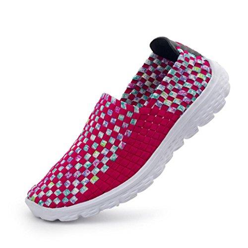 Rouge Plage Confort Chaussure D'eau De Respirante Slip Sur Flats Wuayi Maille Tisse Chaussures Casual Glissement Femmes Mocassins Sport 1qnTwB8Ug