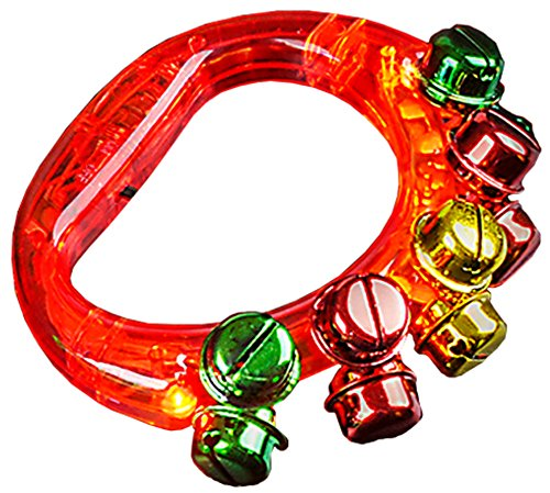 Tambourine Dress Costume (Light Up Christmas Red Jingle Bell Tambourine Noise Maker Toy)