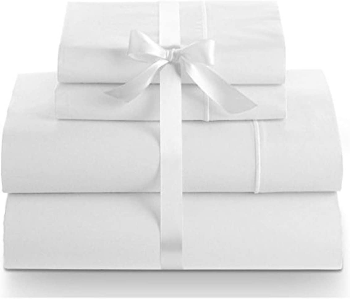 Hotel Luxury Bedsheets Todays Deal Twin, White Hypoallergenic 1000 Thread Count 1 Fitted Sheet Only|Silk Like Soft LINENWALAS Pure Natural Cotton Bed Sheet Breathable /& Cooling Sateen
