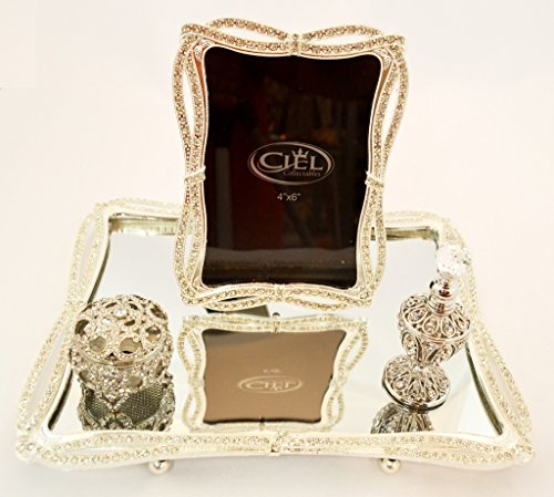 Ciel Collectables Michaela Mirror Tray Set, Set of 4 Items, Hand Set Clear Swarovski Crystal, Silver Plating Over Pewter by Ciel Collectables