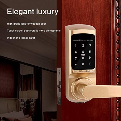FM-01デジタルインテリジェント木製ドアロックキーレススマートドアロックパスワード+カード+キーインテリアドアの3つの方法のロック解除-シルバー