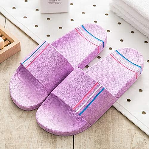 LiXiZhong ファッションシンプルなカップルサンダルとスリッパ屋内滑り止め厚底浴室風呂ホームソフトボトムホームスリッパ (色 : Purple, サイズ さいず : 35)