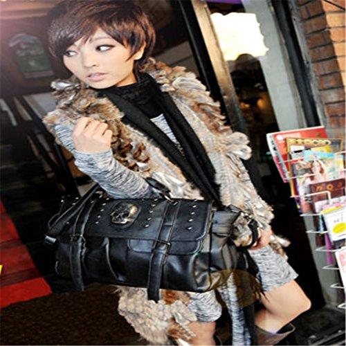 Color diseño Ruda de de para Personalizable Bolso Negro Mano Calavera Mujer Poliuretano XXrpz