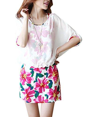 Lady Falsch 2 Teilig Chiffon Patchwork Blumenmuster Kurzes Kleid - Mehrfarbig, Damen, M (EU 38)