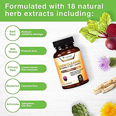 Liver Cleanse Detox & Repair Formula 1100mg - Highest Potency 22 Herbs, Made in USA, Best Vegan Milk Thistle Extract, Silymarin, Beet, Artichoke, Dandelion, Chicory, Support Supplement - 60 Capsules