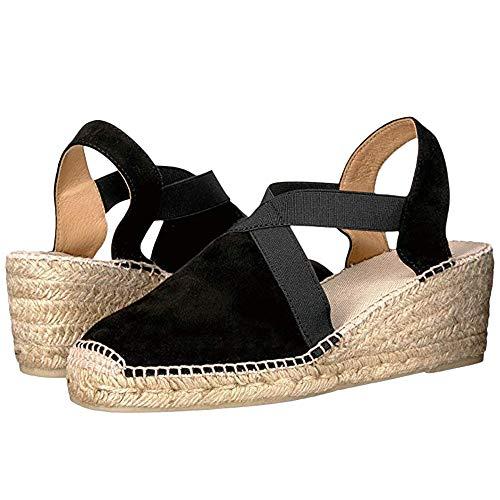 Nailyhome Womens Espadrilles Platform Wedge Sandals Closed Toe Elastic Closure Mid Heel ()