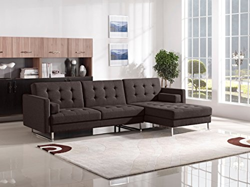 Opus Convertible Tufted RF Chaise Sectional by Diamond Sofa – CHOCOLATE, Includes Left Face Sofa, Right Face Chaise- # OPUSRFSECTCH