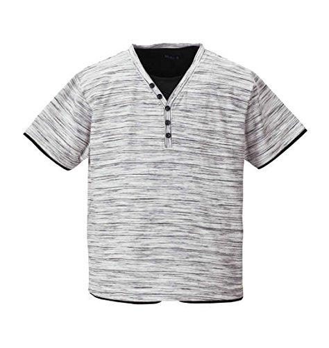 共産主義者親密な日(エムシーエスピー) Mc.S.P フェイクレイヤード Y ヘンリー 半袖 Tシャツ ホワイト杢 大きいサイズ キング ビッグ ラージ