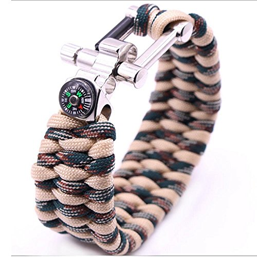 FIFUN EDC Survival Paracord Bracelet –with Compass, Fire Starter,Opener - Size Adjustable