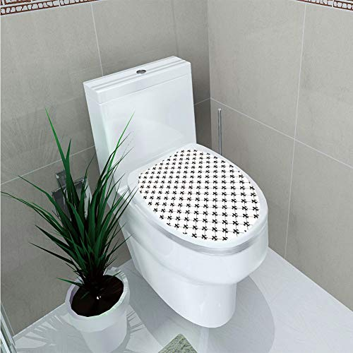 Toilet Sticker,Fleur De Lis,Checkered Dotted Pattern with Monochrome Abstract Lily Flower Ancient Revival Decorative,Black - Revival White Seat Toilet