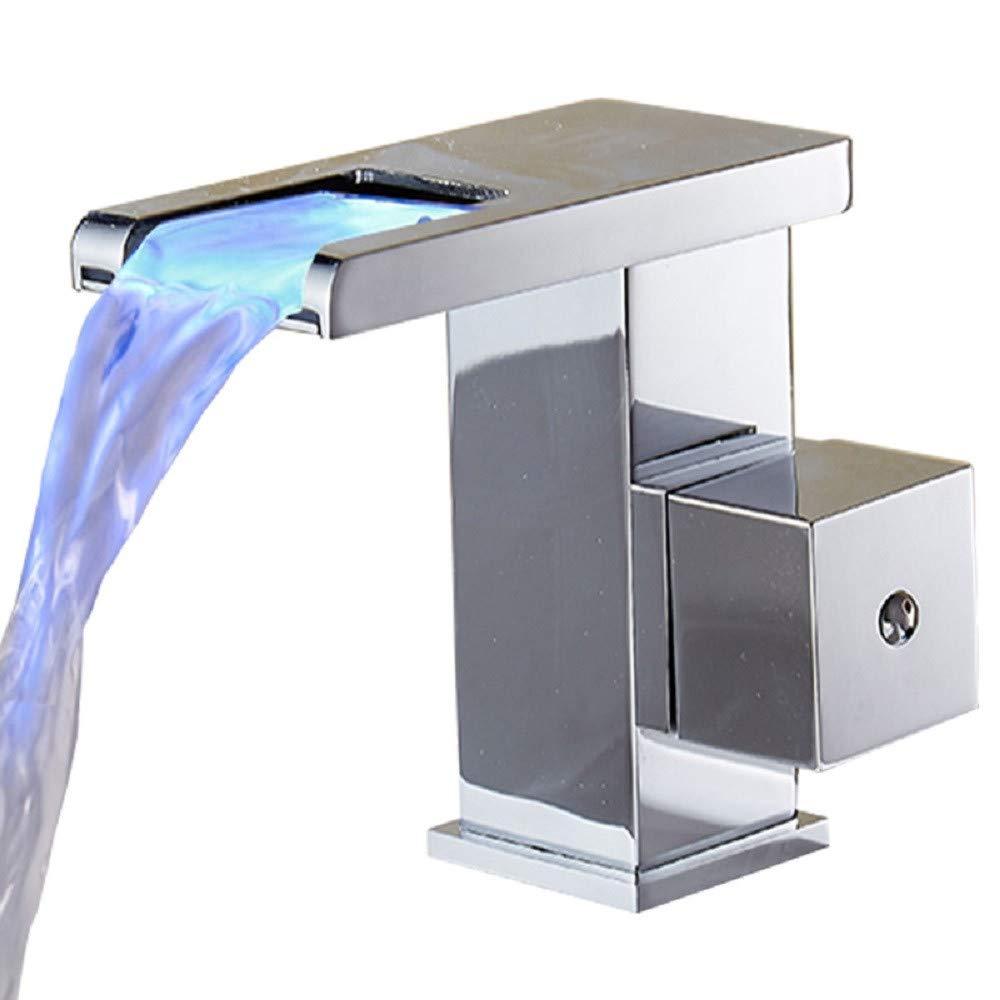 Wasserhahn bad Waschtischarmatur Wasserfall Leuchtende Kalten Und Warmen Waschbecken Toilette Einzigen Loch Waschbecken Tischplatte Becken Persönlichkeit Verfärbte Wasserhahn