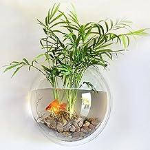 Transparent Acrylic Round Wall Mounted Hanging Fish Bowl Aquarium Tank for Gold Fish and Beta Fish Plant Vase Home Decoration Pot,15cm Diameter