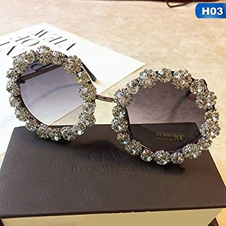 Amazon.com: Luxury Diamond Women Sunglasses Round Shape ...