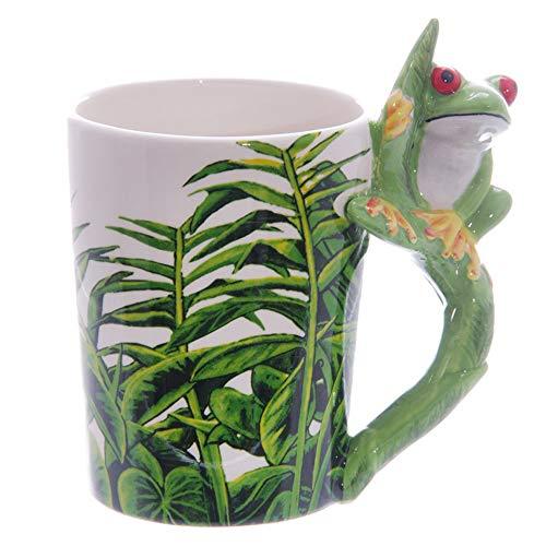 - LUCKSTAR 3D Mug Animal-Hand-painted Ceramic Animal Coffee Mugs Wildlife Series Milk Cup (frog)