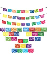 DomeStar Fiesta Banners, 3PCS 18FT Fiesta Garland Mexican Banners Plastic Papel Picado Mexican Party Decorations