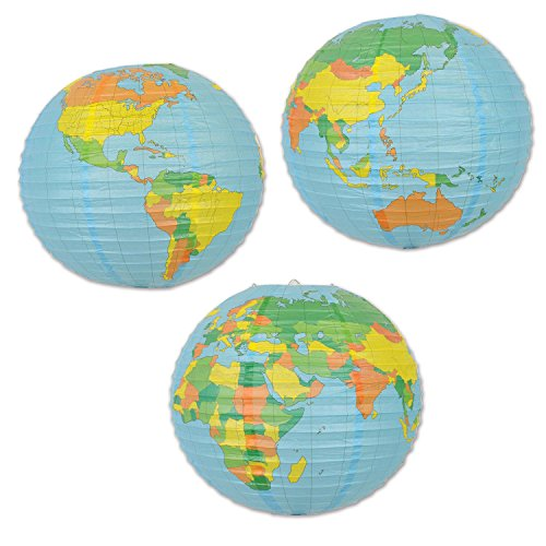 Pack of 12 World Globe Paper Lanterns Hanging Party -