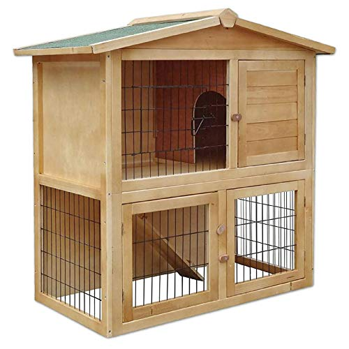 dibea Conejera de madera caseta exterior para mascotas pequeñas cobertizo 98x54x100 cm
