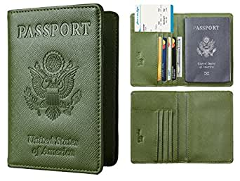 NapaWalli Leather Passport Holder Wallet Cover Case RFID Blocking Travel Wallet (crosshatch army green)