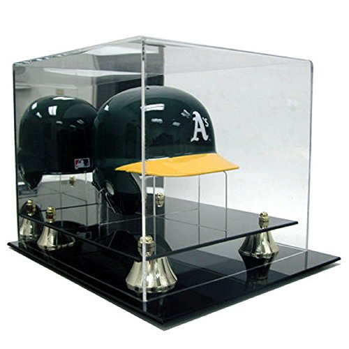 DELUXE ACRYLIC MINI BASEBALL HELMET DISPLAY CASE W / STAND