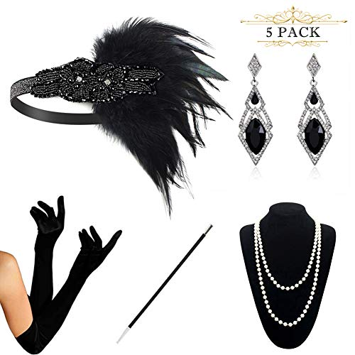 (HAMIST 1920s Accessories Set Flapper Costume for Women Headband Gloves Cigarette Holder Necklace)