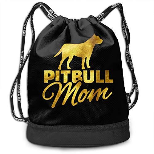 Pitbull Mom Animal Gold Sport Gym Sack Bag Drawstring Backpack ()