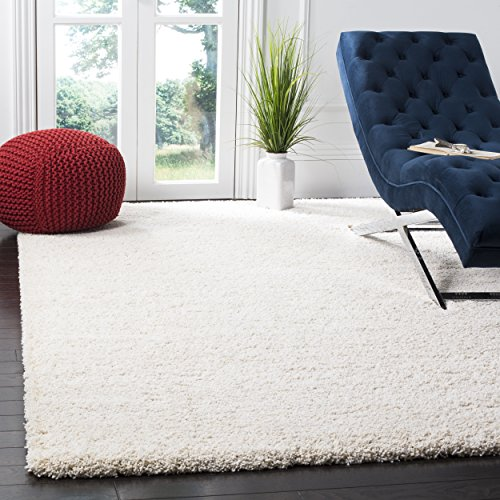 Safavieh Milan Shag Collection SG180-1212 Ivory Square Area Rug (7' Square) (8 Rug Square Ivory)